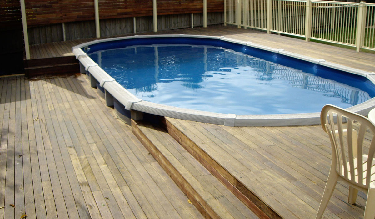 above ground pool with decking